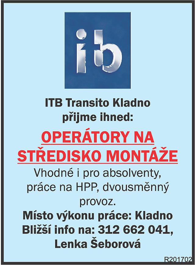 ITB Transito Kladno přijme...