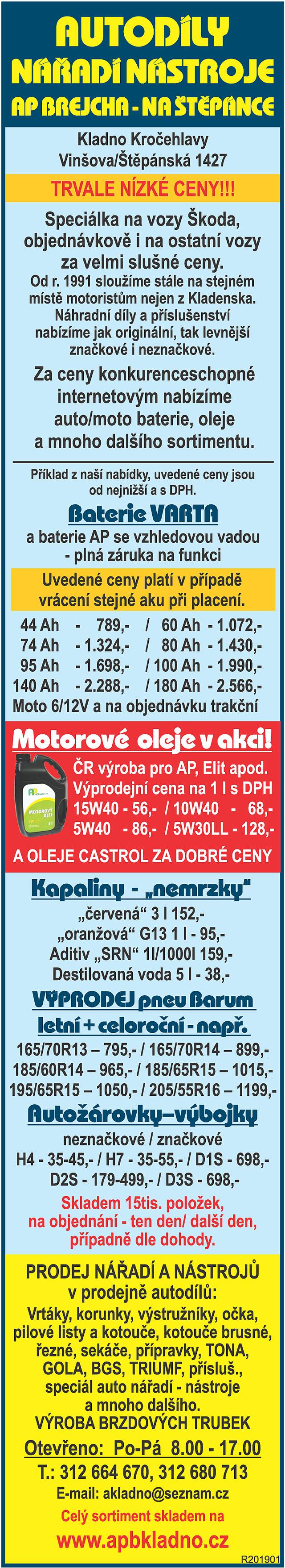 AUTODÍLY, NÁŘADÍ NÁSTROJE, AP...