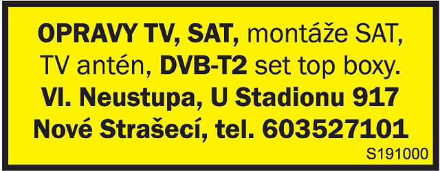 OPRAVY TV, SAT, montáže...
