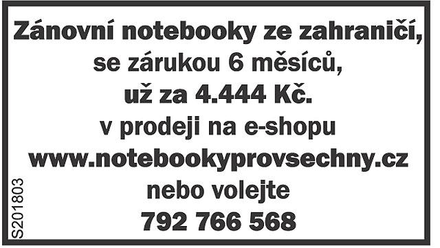 www.NOTEBOOKYPROVSECHNY.cz MÁME NOTEBOOK I...