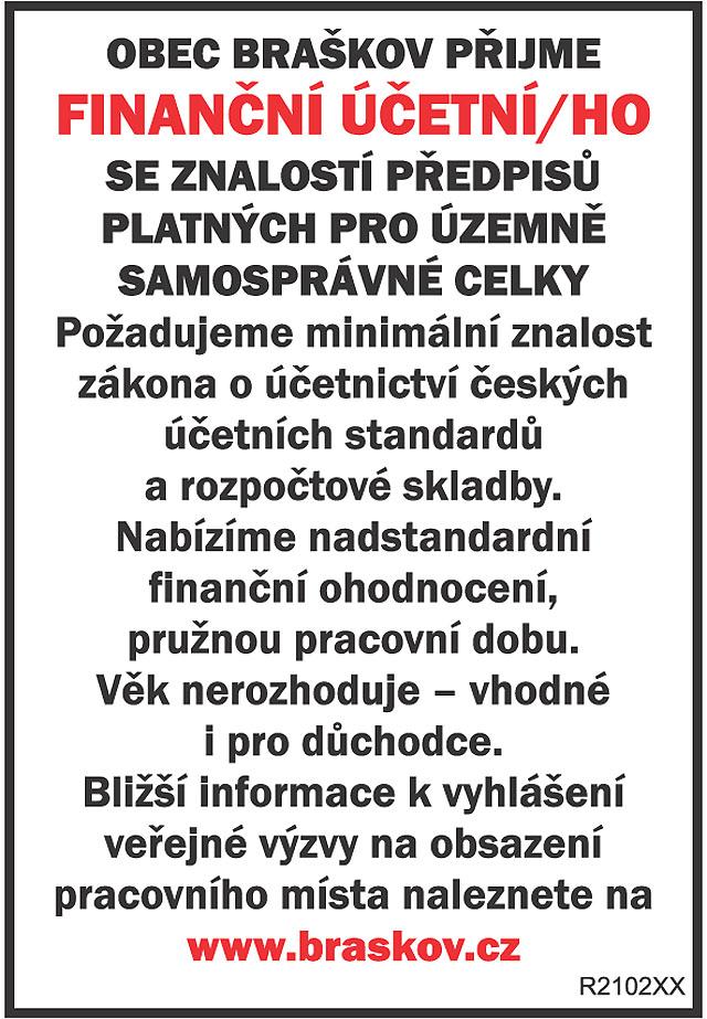 OBEC BRAŠKOV PŘIJME FINANČNÍ...