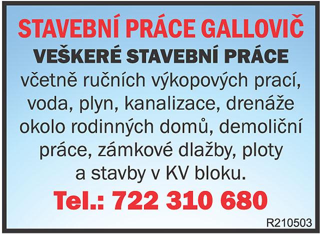 STAVEBNÍ PRÁCE GALLOVIČ; VEŠKERÉ...