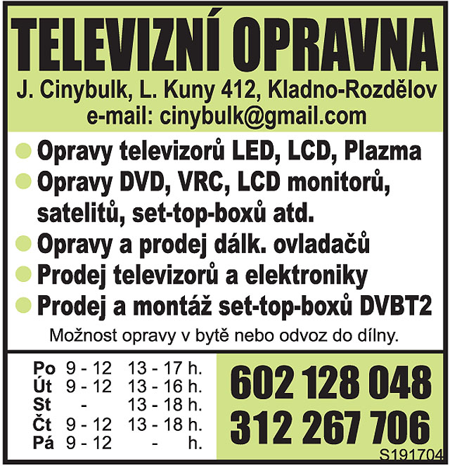 TELEVIZNÍ OPRAVNA, opravy televizorů...