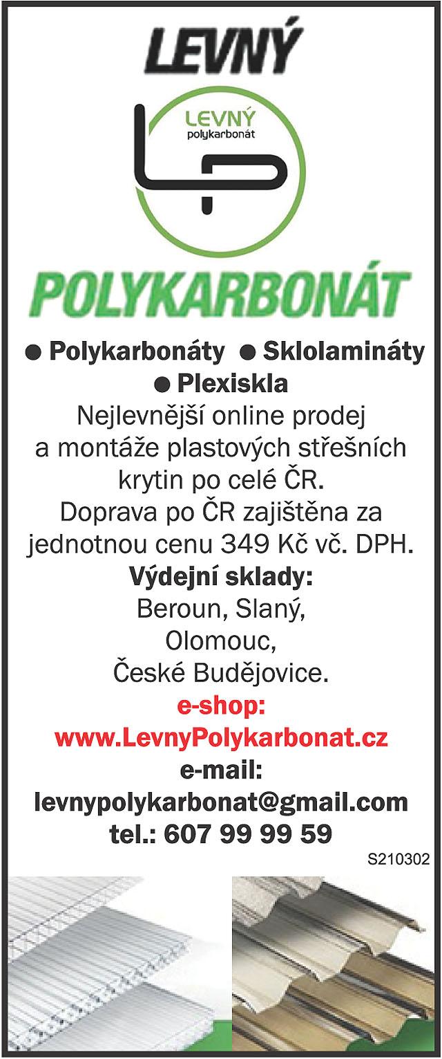 Levný LP polykarbonát! Polykarbonáty,...