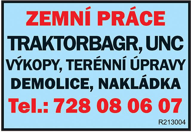 ZEMNÍ PRÁCE, TRAKTORBAGR, UNC,...