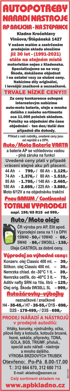 AUTOPOTŘEBY, NÁŘADÍ NÁSTROJE, AP...